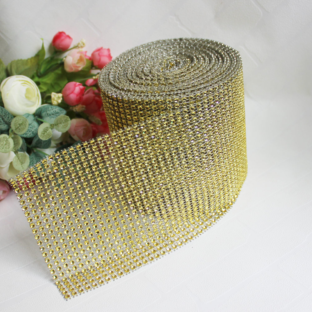 Diamond Mesh Wrap Roll Rhinestone Crystal Ribbon 4.5