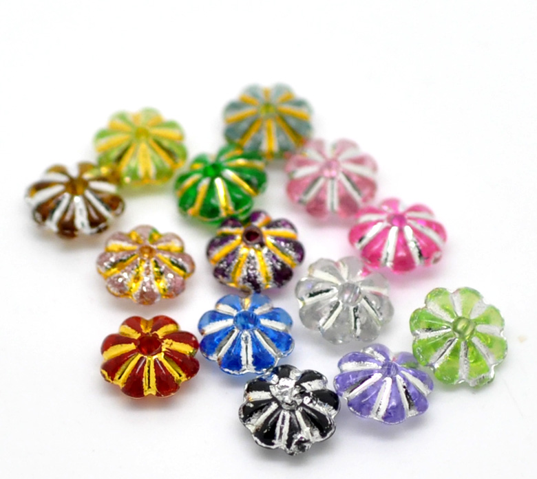Acrylic Spacer Beads Flower Mixed Gold Color Stripe Pattern Color Plated  - 副本