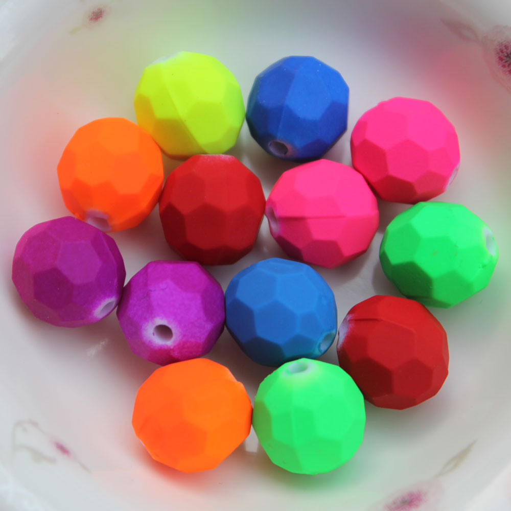 Neon Color Faced Acrylic Beads 8mm 12mm