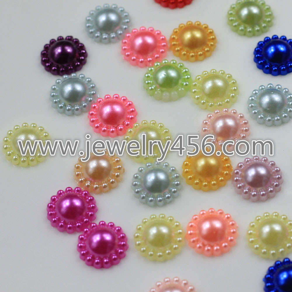 Cabochon Dia 12mm Multicolor Flatback Flower Plastic ABS Imitation Pearl Beads For DIY Jewelry Accessories