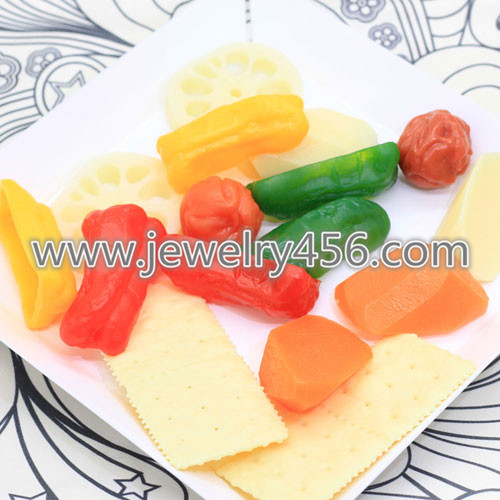 3D Kawaii Carrot Potato Chinese-date Lotus Plant Miniature Vegetables Resin Flat Back Cabochon For DIY Decorative Craft Scrapbookin